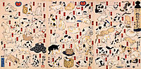 Cats suggested as the fifty three stations of the Tokaido, kuniyoshi