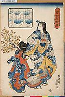 Courtesan and Her Maiko, kuniyoshi