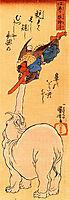 Elephant catching a flying tengu, kuniyoshi