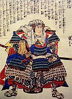 A fierce depiction of Uesugi Kenshin seated, 1844, kuniyoshi
