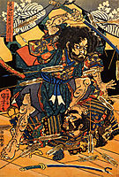 Hasebe Nobutsura during the taira attack on the takakura palace, kuniyoshi