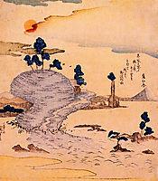 Island Enoshima. The Fuji can be seen far away, kuniyoshi
