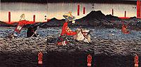 Kagesue, Takatsuna and Shigetada crossing the Uji river, kuniyoshi