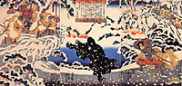 Kamei Rokuro and the Black Bear in the Snow, 1849, kuniyoshi