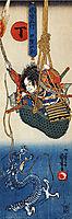 Koga Saburo, suspendeding a basket, watching a dragon, kuniyoshi