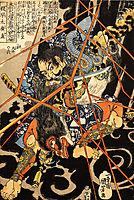 Li Hayata Hironao grappling with the monster, kuniyoshi
