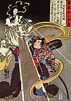 A man confronted with an apparition of the Fox goddess, kuniyoshi