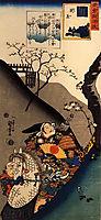Minamoto Yoshiie at the Nakoso barrier, kuniyoshi