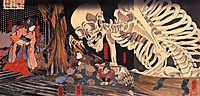 Mitsukini Defying the Skeleton, 1845, kuniyoshi