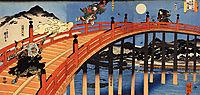 The moonlight fight between Yoshitsune and Benkei on the Gojobashi, kuniyoshi