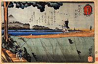 Mount Fuji from the Sumida River embankment, c.1842, kuniyoshi