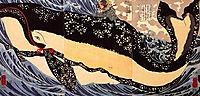 Musashi on the back of a whale, kuniyoshi