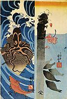 Octopus, Red Fish, kuniyoshi