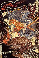 Oki no Jiro Hiroari killing a monstrous tengu, kuniyoshi