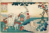 People stopping to admire the gourd that miraculously appeared at the time of the birth of Prince Shôtoku, 1840, kuniyoshi