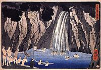 Pilgrims in the waterfall, kuniyoshi