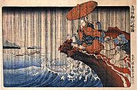 Priest Nichiren praying under the storm, kuniyoshi
