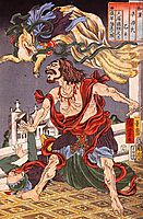 Prince Hanzoku terrorised by a nine, tailed fox, kuniyoshi