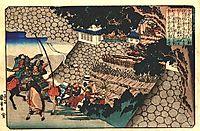 Prince Shôtoku directing the attack on Moriya-s castle, 1840, kuniyoshi