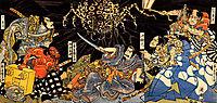 Raiko tormented by the earth spider, kuniyoshi