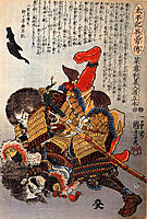 Saito Toshimoto and a warrior in a underwater struggle, kuniyoshi