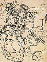 A samurai overwhelming a giant serpent, kuniyoshi