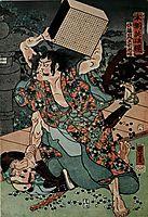 Sato Tadanobu, a samurai of the Twelfth Century, Defending Himself with a Goban, whan Attacked by His Enemies, kuniyoshi
