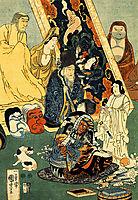 Sculptor Jingoro surrounded by statues, kuniyoshi