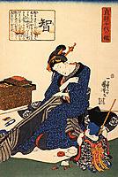A seated woman sewing a kimono, kuniyoshi