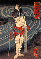Senkaji Chao wringing out his loincloth, kuniyoshi
