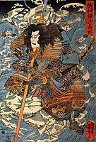 Shimamura Danjo Takanori riding the waves on the backs of large crabs, kuniyoshi