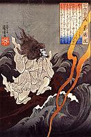 Sotoku invoking a thunder storm, kuniyoshi