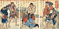 Suikoden Triptych the Fishermen, kuniyoshi