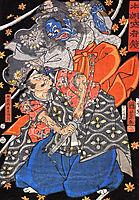 Taira Koresshige attacked by a demon, kuniyoshi