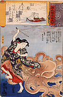 Tamakatzura Tamatori attacked by the octopus, kuniyoshi