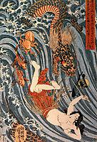 Tamatori being pursued bya dragon, kuniyoshi