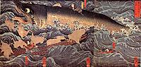 Tametomo rescued from the sea monster by tengu, kuniyoshi