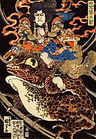 Tenjiku Tokubei riding a giant toadn, kuniyoshi