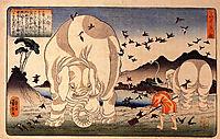 Thaishun with elephants, kuniyoshi
