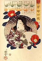 Tokiwa Gozen in the snow, kuniyoshi