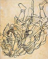 Two opponents in underwater fight, kuniyoshi