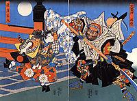 Uchiwakamaru fighting Benkei on Gojo bridge, kuniyoshi