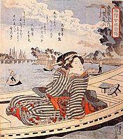 Woman in a boat on the Sumida river, kuniyoshi