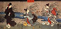 Woman catching firefly by a stream, kuniyoshi