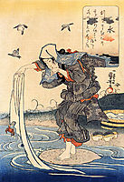 Woman doing her laundry in the river, kuniyoshi