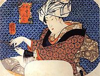 Woman making a wig, kuniyoshi