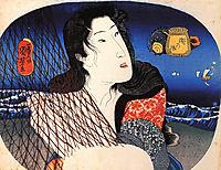 Woman mending a fish net, kuniyoshi