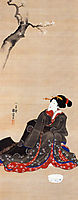 Woman seated under a cherry blossoms, kuniyoshi