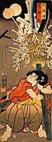 The young Benkei holding a pole, kuniyoshi