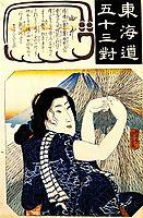 Yui - Girl with fishing net, kuniyoshi